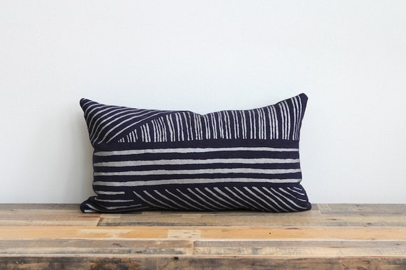 Metallic silver & navy blue handprinted organic hemp pillow cover 12x21