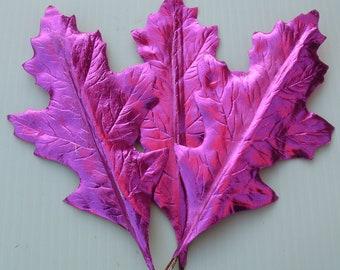 Vintage Millinery Flower Hot PINK Craft Paper Leaves Foil Art Spring Wreath Decor QQ Sm