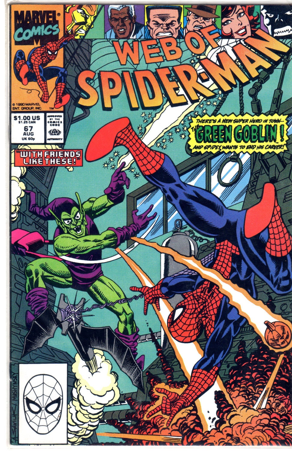 Vintage Spiderman Comic Book Issue No. 67 August 1990 Green