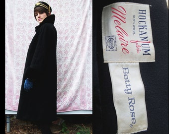 50s FEMME FATALE Warm Black Wool Princess Coat with Fur Accent, Medium Large