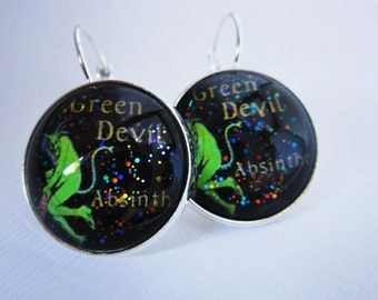 Green Devil Absinthe Mine Star Girl Earrings
