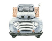 ford truck watercolor giclee print - 8x10 // 1948 Ford Pickup Illustration // art // wall decor