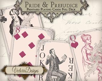 Pride and Prejudice playing cards full deck instant download printable digital collage sheet VD0287