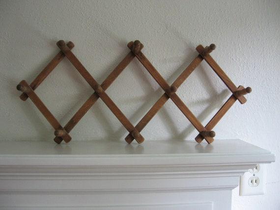 vintage accordion wooden rack