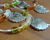 Grape Leaf Wine Charms, Set of 4, Silver Plated Wires