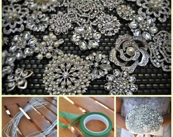 DIY Brooch Bouquet Kit - 35 Pieces (SMALL)