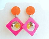 Geometric Lucite Earrings - Pink Orange Yellow - Pierced