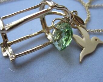Large Bird Cage, Peridot Heart crystal, Heart crystal, Birthday gift, Anniversary gift, Friendship, Bird necklace, E-014, D-044