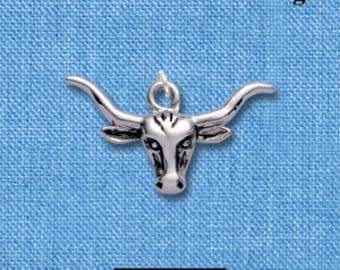 1 silver plated TEXAS LONGHORN Charm  chs1293