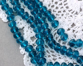"8mm Transparent CARIBBEAN BLUE Faceted Glass Crystal Rondelle Beads . 16.5"" strand  bgl0595"