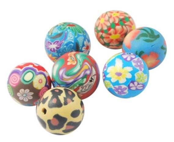 30 MULTI COLORED Polymer Clay Round Flower Beads  8mm