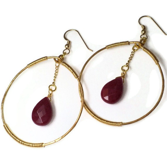 Gold Hoop Earrings with Red Aventurine Dangle, Red Stone Earrings