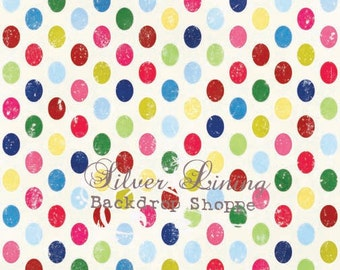 NEW DESIGN 5 x 5 Foot Vinyl Photography Backdrop for Birthday, Babies and Children Photo Booths - Party Dots