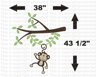 Sale Jungle Friends Happy  Monkeys 1 Monkey Swinging from a tree Branch Vine Vinyl Wall Graphics