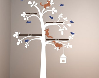 Sale The Original Shelving Tree with Birds and squirrels large baby room nursery vinyl wall decals