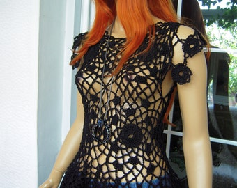 handmade crochet goth,boho,lace peplum top/sweater in black cotton made to order for her  by golden yarn