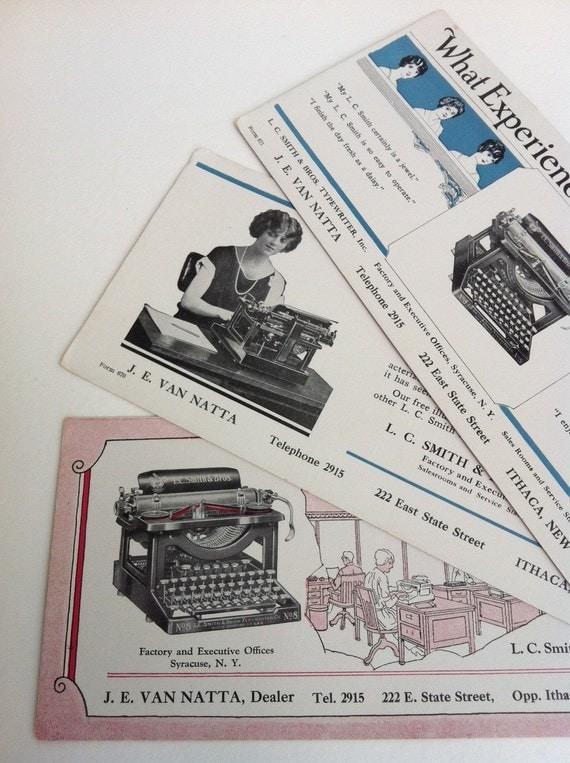 Vintage Typewriter Advertisement Cards Lot of 3