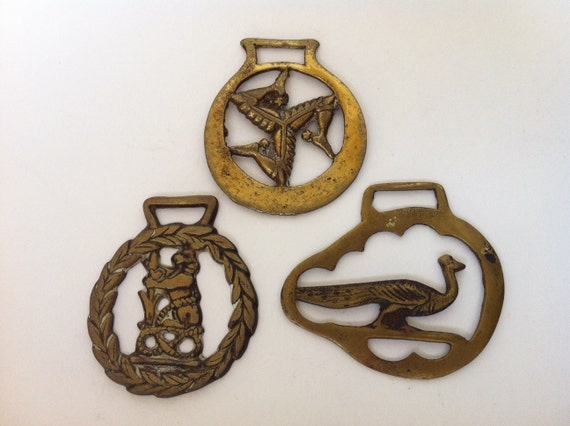 Vintage Brass Horse Harness Plaques Lot of 3