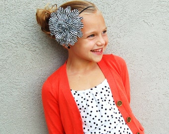 SALE XL Chiffon Headband Striped Collection on Skinny Elastic - over 100 Different Options girl baby child