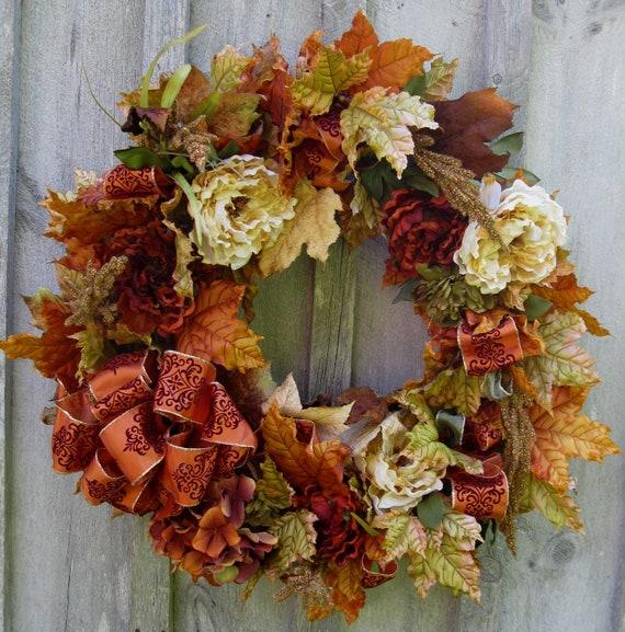 Fall Wreaths, Autumn Floral Wreath, Elegant, Designer Decor, Peonies, Leaves