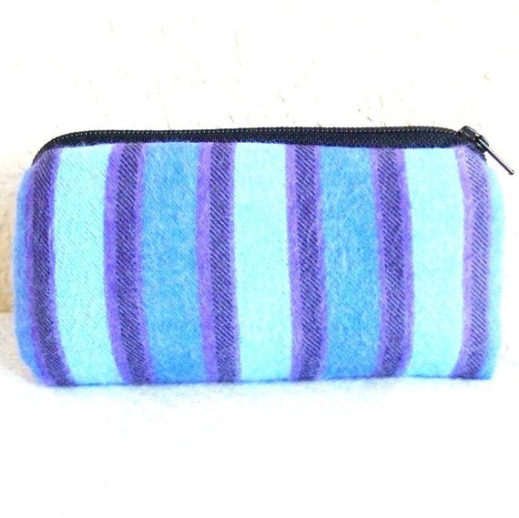 Blue & Purple Striped Flannel Padded Pipe Pouch 5.5""