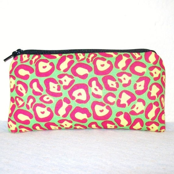 """Neon Pink Green & Yellow Cheetah Print Cotton Padded Pipe Pouch 5.5"""""""
