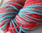 Slender Self Striping Yarn on Coruscate Base: Colorway - Arteriovenous Rocket Pop