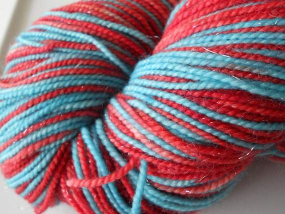 Slender Self Striping Yarn on Coruscate Base: Colorway - Arteriovenous Rocket Pop