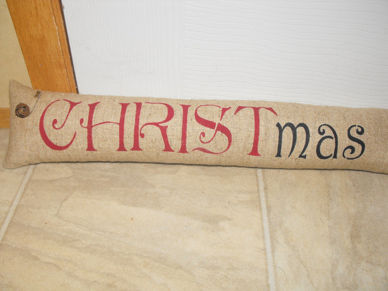 Door Draft Stopper Linen Keeping Christ In By