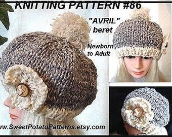 Instant Download PDF Knitting Pattern - Avril Hat - SPP-86K newborn, adult, toddler, children, teens, women, baby, clothing pattern