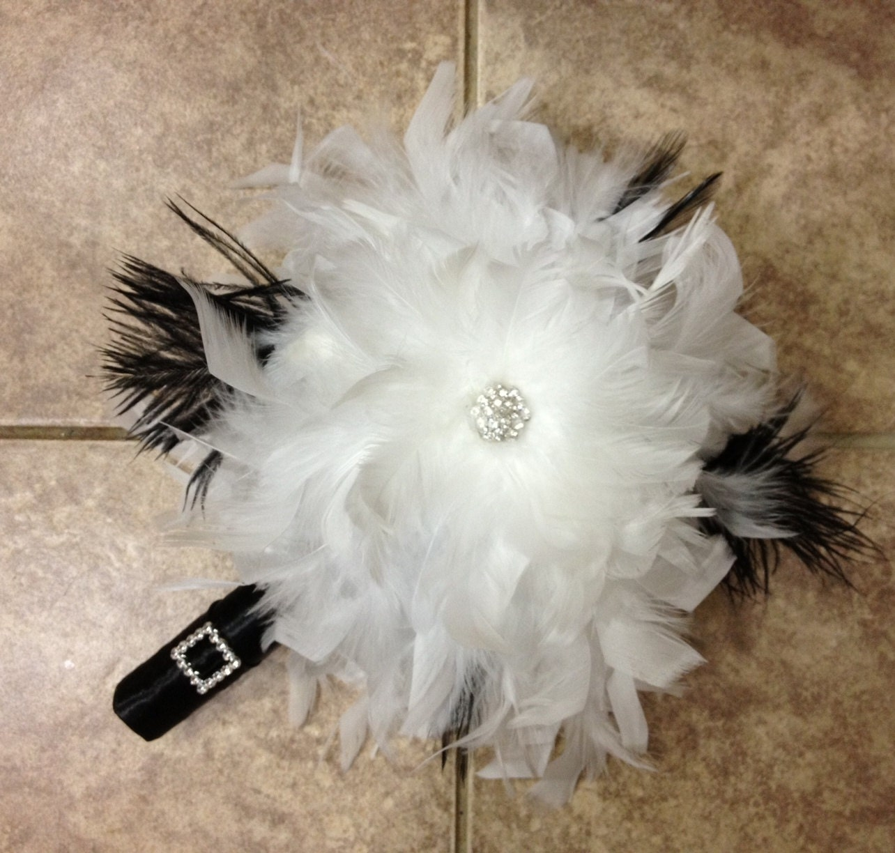 Elegant white feather bouquet swarovski crystal flower