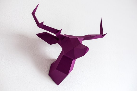 foldeer violet origami maquette de t te de cerf par foldeer. Black Bedroom Furniture Sets. Home Design Ideas