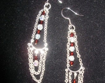 Swarovski and Silver Double Drop Earrings