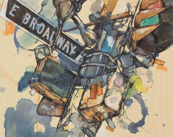 "East Broadway (Vancouver) 12"" x 12"" Art Print Of Original Ink and Acrylic Painting"