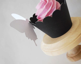Elegant Wedding Black Cupcake Wrappers In Your Choice of Color Qty 12 By Your Little Cupcake
