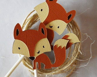 Woodland Fox Cupcake Toppers In Your Choice of Color Qty 12 By Your Little Cupcake