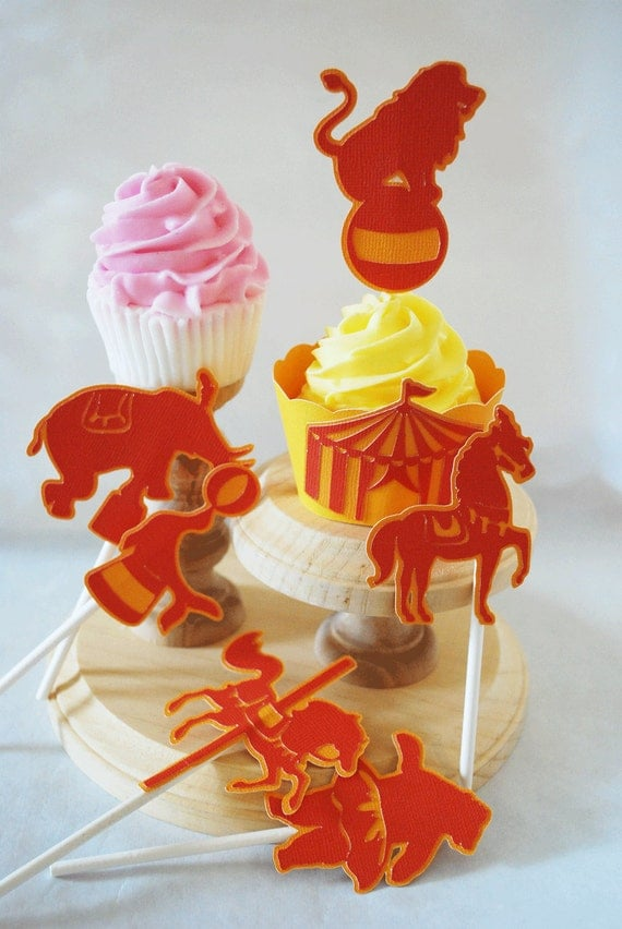 Vintage Circus Cupcake Toppers Set of 12  By Your Little Cupcake