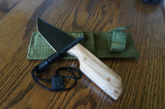 Handmade solid Oak knife with flint fire starter and sheath
