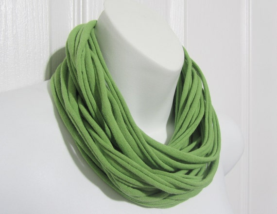 Infinity Scarf Lime Green Statement Necklace Upcycled T-shirt Cowl Free Shipping