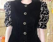 Vintage Black Velvet-Gold Embroidered Top-Jacket- Sz 8