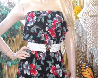 Vintage 80's Black Strapless  Romper-Playsuit  with Red Flower Print Sz  S-M