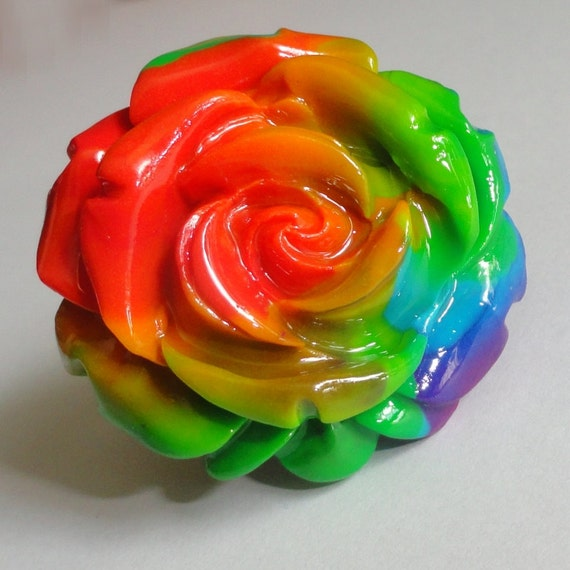 Rainbow rose - adjustable ring