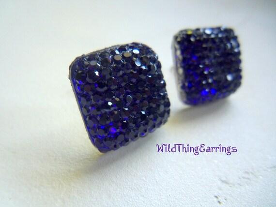 Deep Purple Gumdrop Button Stud Earrings