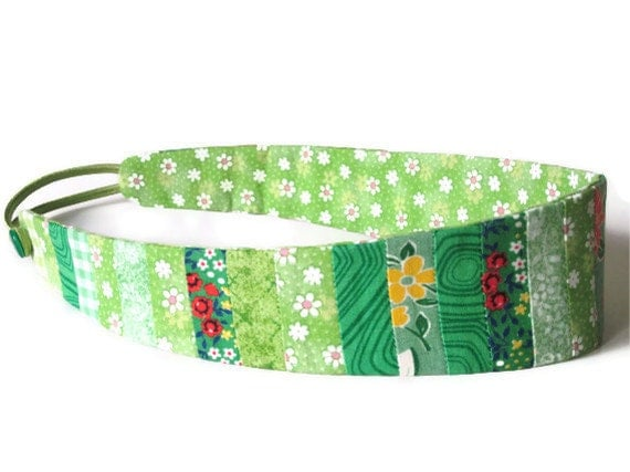 Quilted Headband in 1930s Bright Green Calicos with Button Back Detail Handmade Quilt Pieced Hair Band