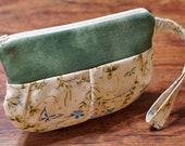 Wristlet, Purse, Makeup Pouch, Wrist Bag, Pleated Pouch with Strap, Wristlet Purse, Small Bag - Spring Renaissance