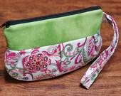 Wristlet, Purse, Makeup Pouch, Wrist Bag, Pleated Pouch with Strap, Wristlet Purse, Small Bag - Floral Fusion