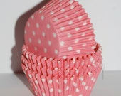 cupcake liners 50 count -  Pink  polka dot cup cake liners  baking cups  muffin cups  standard size  grease proof cupcake
