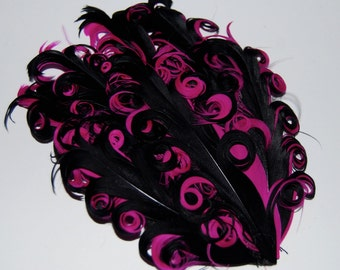 Curly Feather Pad -  Two Tone Black on Fushia hot Pink  FP167 - (1 piece)