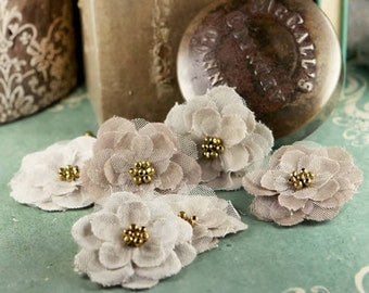 natural linen flowers Flaxence Grain  552039  - natural linen fabric flowers  - centers embellished with a  exotic beads.