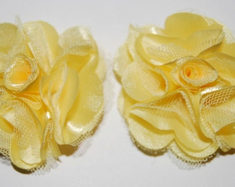 Yellow - 2.5''  small Satin mesh silk fabric flowers flat back   - use for flower shoe clips wedding bridal hair brooch clip  ( 2 pieces)